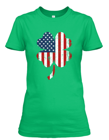 Women's short sleeve Shamrock Red, White, and Blue t-shirt