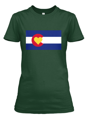 Women's short sleeve Colorado Love Flag t-shirt