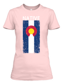 Women's Colorado Native Stacked Flag short sleeve t-shirt