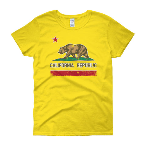 Women's short sleeve California Republic Flag print t-shirt