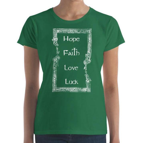 Women's short sleeve Hope, faith, love, luck t-shirt from American Icon for Saint Patrick's Day.