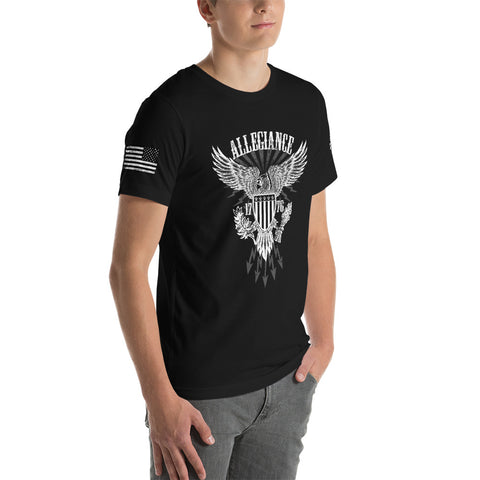 White Hot Allegiance Unisex T-Shirt with Sleeve Prints.