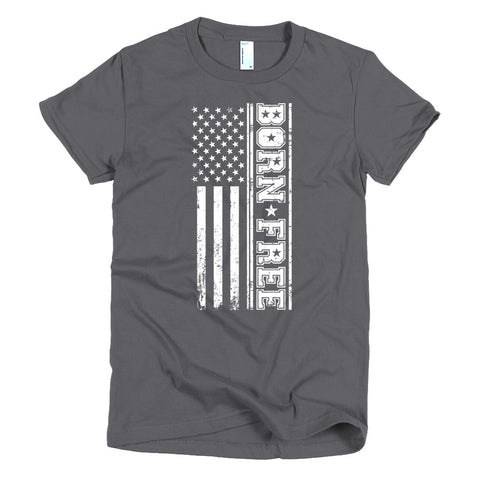 Short sleeve women's Born Free Stacked Flag t-shirt