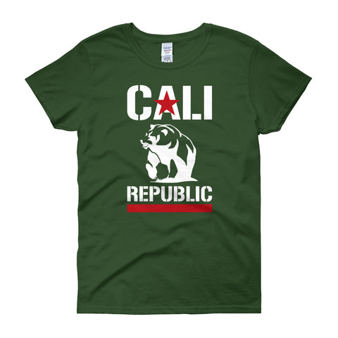 Women's short sleeve Cali Republic Red and White print t-shirt