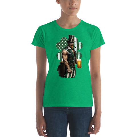 Women's short sleeve Shamrock Uncle Sam t-shirt for Saint Patrick's Day.