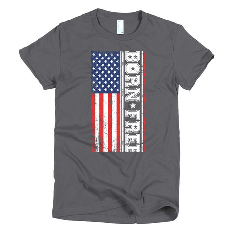 Short sleeve women's Born Free Stacked Flag RWB t-shirt