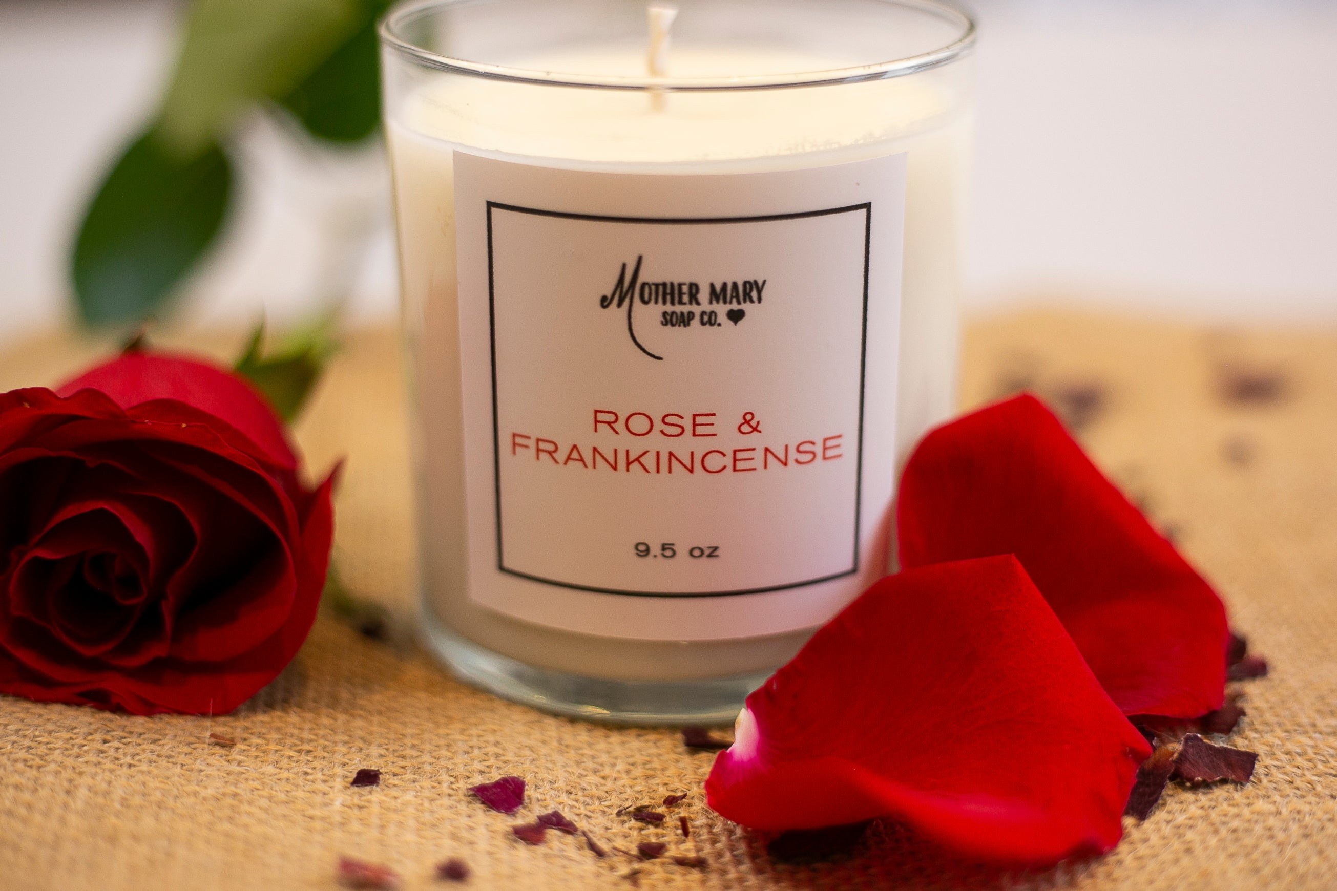 Rose and Frankincense Candle - Mother Mary Soap Company