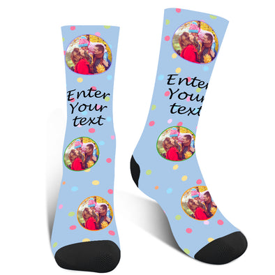 Mothers Day Gifts Custom Photo Colorful Dot Face Socks - amlion