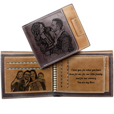 Custom Engraved Wallet, Personalized Photo Men Wallets for Dad Boyfriend Son Him Dark brown