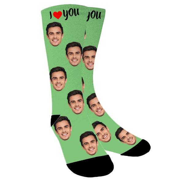 "Custom Face ""I Love You"" Photo Colorful Socks - amlion"