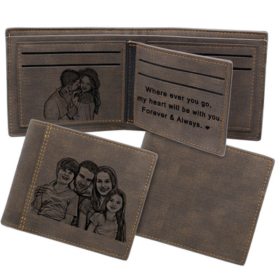 Engraved Custom Photo Men Wallet for Dad Fathers Day Dark brown
