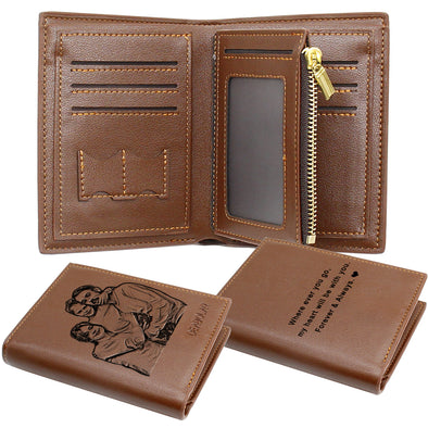 Custom Personalized Men's Photo Leather Wallet ,Fathers Day Wallet Brown
