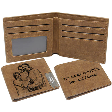 Custom Engraved Photo Wallet for Men Dad Boyfriend Son Him Brown
