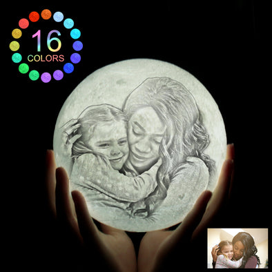 Unique Mothers Day Gifts Custom 3D Print Photo Moon Lamp - amlion