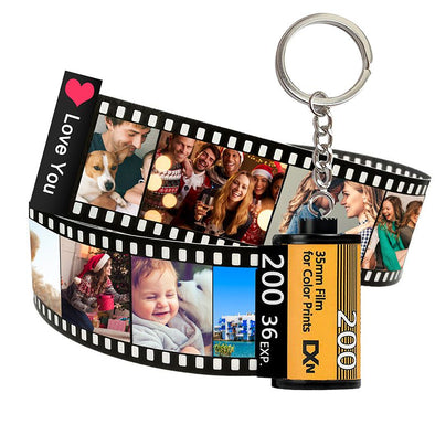 Photo Camera Roll Keychain,Customized Keychain with Photos, Personalized Picture Keychain for Valentine's Day,Mothers Day