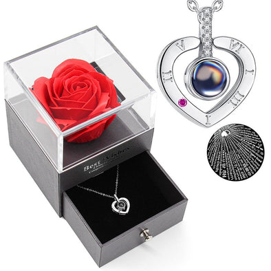 Rose Drawer with I Love You Necklace 100 Languages  for Valentine's Day, Mother's Day Gift