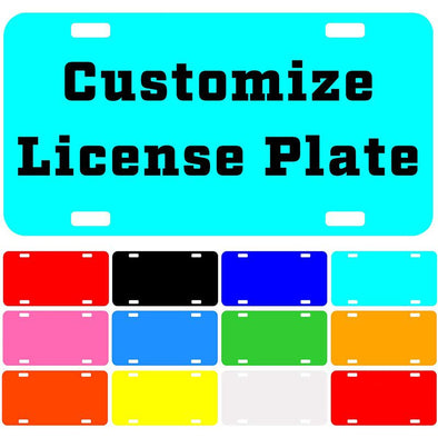 "Custom License Plate with Your Image, Custom Metal Novelty Car Tag-Cyan, 12"" x 6"""