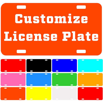 "Custom License Plate with Your Image, Custom Metal Novelty Car Tag-Orange, 12"" x 6"""
