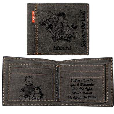 Photo Wallets Personalized, Custom Wallets for Men,Father,Dad Black