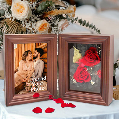 Personalized Eternal Immortal Flower Preserved Rose with Custom Photo Frame for Her-Brown
