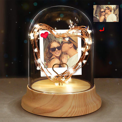 Custom Personalized Photo Night Light in Glass Dome with LED String Light,Personalized Gifts for Christmas,Valentine's Day,Mothers Day
