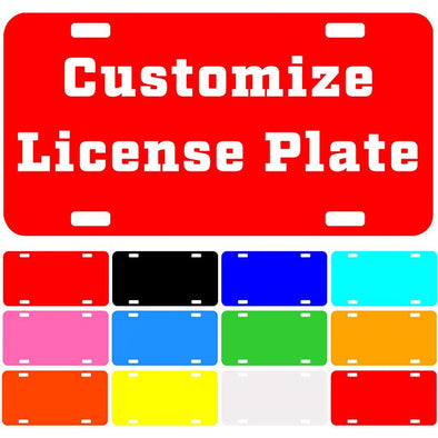 "Custom License Plate with Your Image, Custom Metal Novelty Car Tag-Red, 12"" x 6"""
