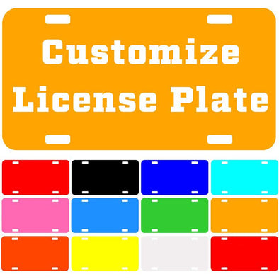 "Custom License Plate with Your Image, Custom Metal Novelty Car Tag-Yellow, 12"" x 6"""