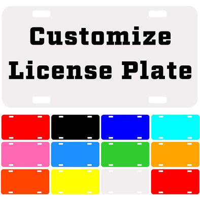 "Custom License Plate with Your Image, Custom Metal Novelty Car Tag-White, 12"" x 6"""