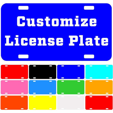 "Custom License Plate with Your Image, Custom Metal Novelty Car Tag-Blue, 12"" x 6"""