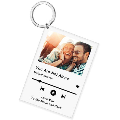 Personalized Scannable Spotify Code Plaque Keychain, Custom Photo and Acrylic Music Keychain for Valentine's Day,Mothers Day