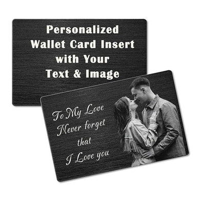 Personalized Black Metal Wallet Card,Custom Wallet Insert Photo Message Card Engraved Gifts for Men, Husband, Dad, Son