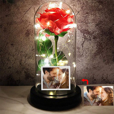 Beauty Red Rose in Glass Dome,Enchanted Rose Led Flower Lamp with Photo Picture,Personalized Gifts for Valentine's Day,Mothers Day