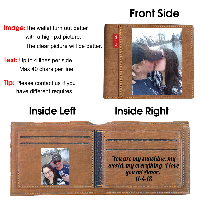 Personalized Wallets for Man, Engraved Mens Photo Wallets - amlion