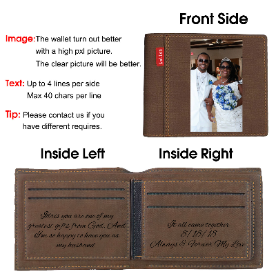 Custom Photo Wallet, Personalized Photo Wallets for Men Dark Brown - amlion