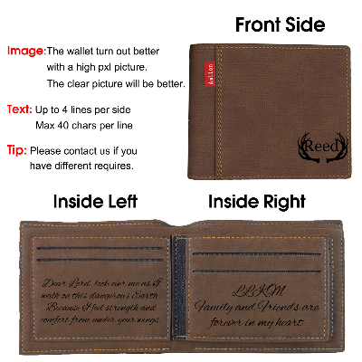 Personalized Monogram Wallets for Men, Engraved Mens Photo Wallets - amlion