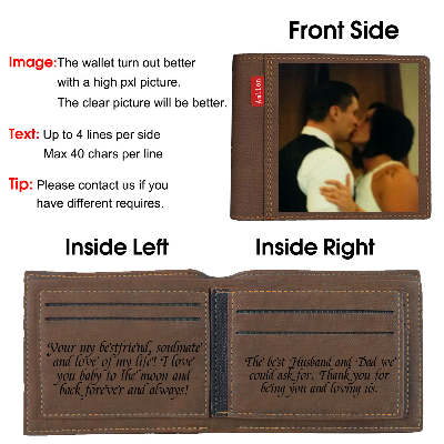 Personalized Photo Wallets Engraved, Custom Wallets for Men,Father,Dad Dark brown - amlion