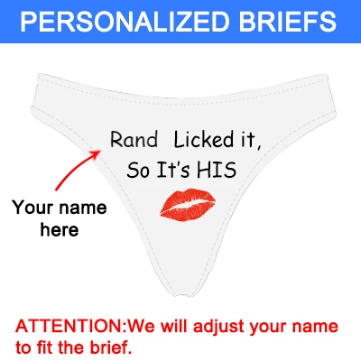 "Personalized Name ""Licked It"" White Thong Panty - amlion"
