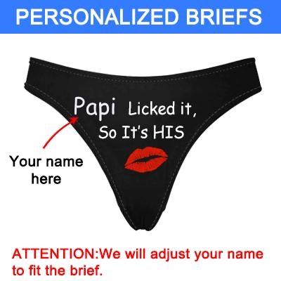 "Personalized Name ""Licked It"" Black Thong Panty - amlion"