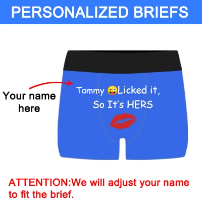 "Personalized Name ""Licked It"" Blue Boxer Briefs - amlion"