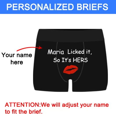 "Personalized Name ""Licked It"" Black Boxer Briefs - amlion"