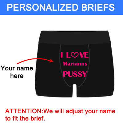 "Personalized""Love Name's Pussy"" Black Boxer Briefs - amlion"