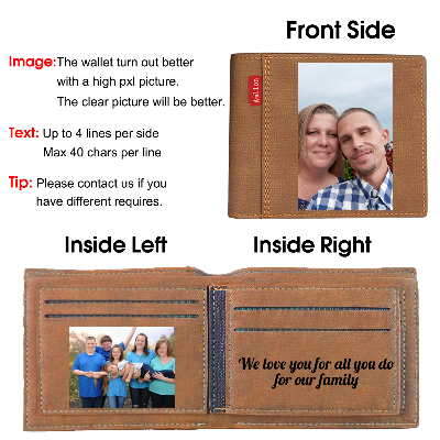 Personalized Wallets for Men, Engraved Mens Photo Wallets - amlion