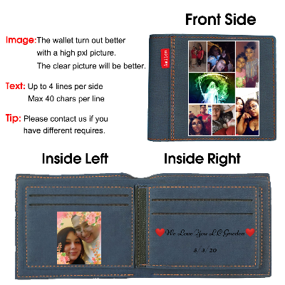 Custom Engraved Wallet, Personalized Photo Wallet for Men Blue - amlion