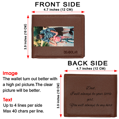 Personalized Photo Leather Wallets for Men,Custom Engraved Wallet Brown - amlion