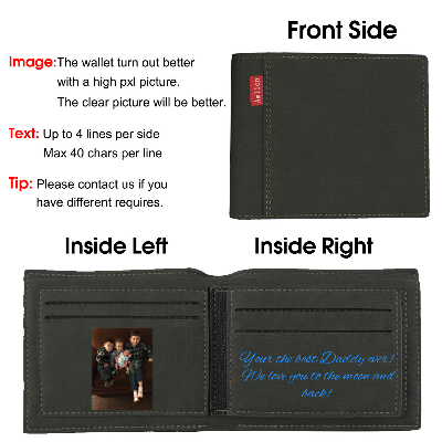 Custom Photo Wallet, Personalized Photo Wallets for Men Black - amlion
