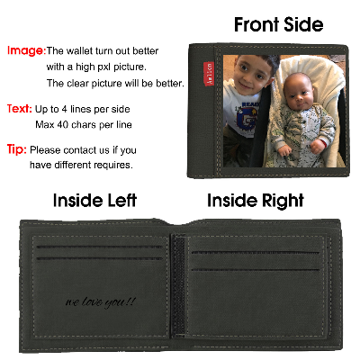 Custom Engraved Wallet, Personalized Photo Wallet for Men black - amlion