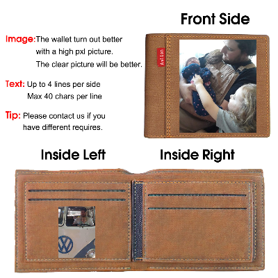 Engraved Photo Wallets Personalized, Custom Trifold Wallets for Men,Father,Dad Light brown - amlion