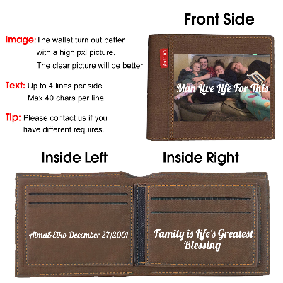 Personalized Custom Photo Wallets for Men Father Color Printing Dark brown