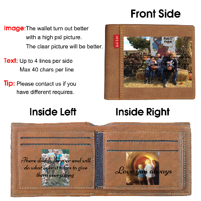 Personalized Men Photo Wallets Custom Engraved Mens Wallets with Text Pictures for Him Dad Son-Brown Color