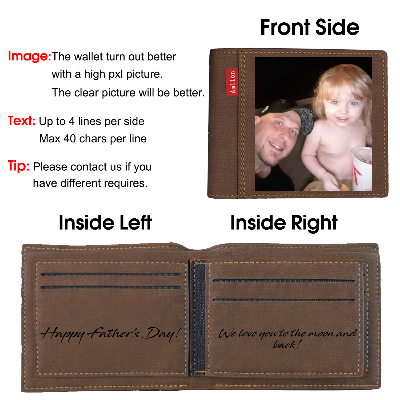 Custom Engraved Wallet, Personalized Photo Wallet for Men Dark brown